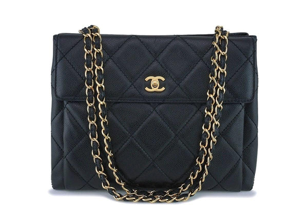 Chanel Vintage Black Caviar Classic Shopper Tote w/Flap Bag 24k GHW
