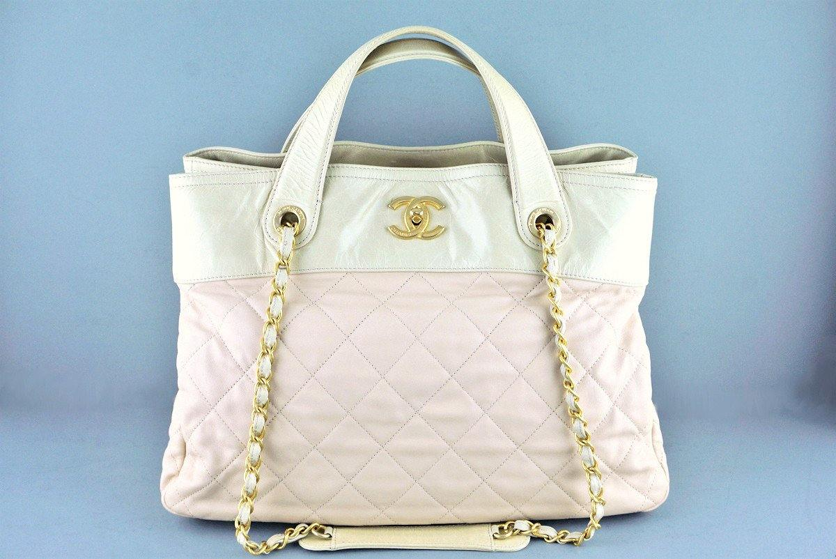 Chanel Light Beige In the Mix Soft CC Quilted Classic Tote Bag