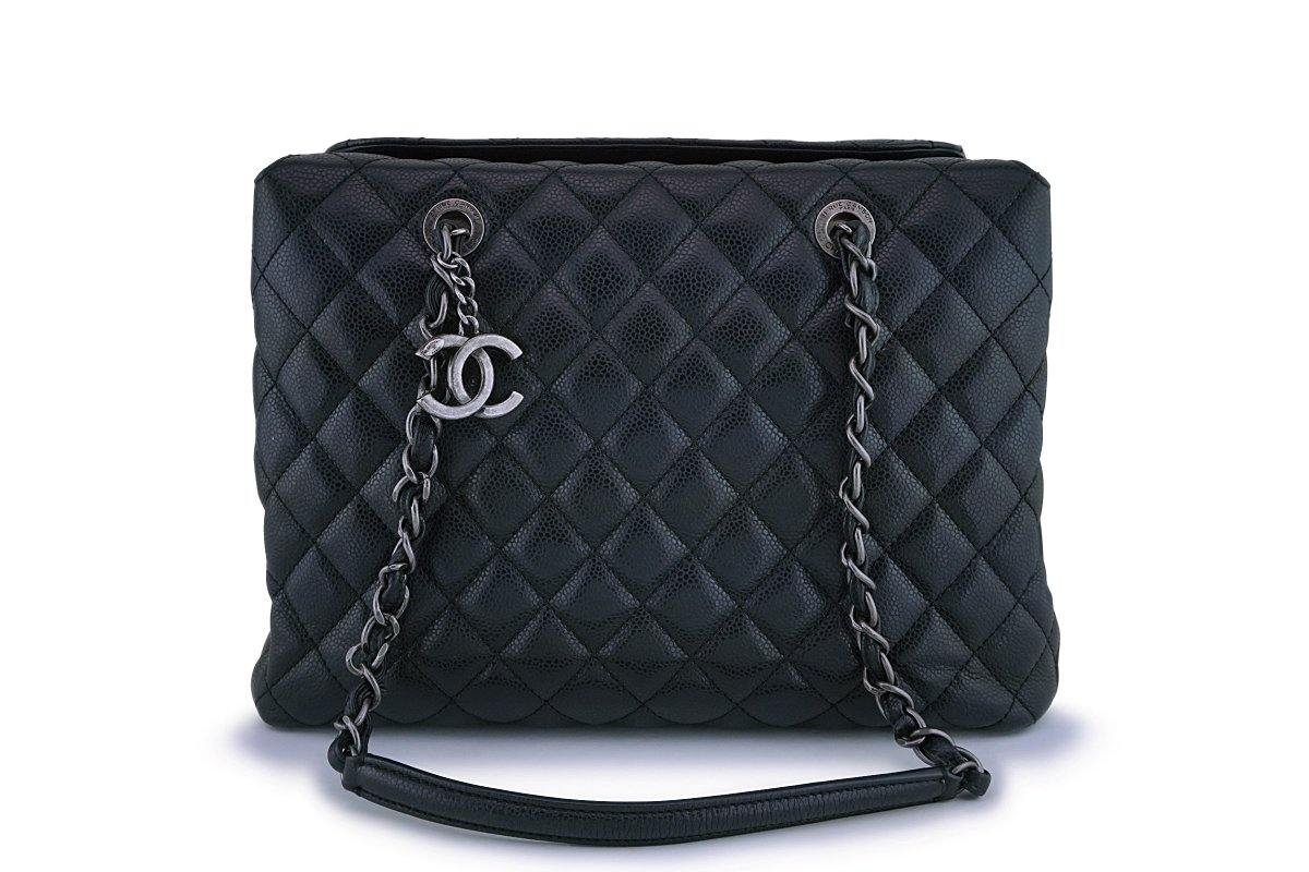 Chanel Black Caviar Classic Quilted Business Tote Bag RHW