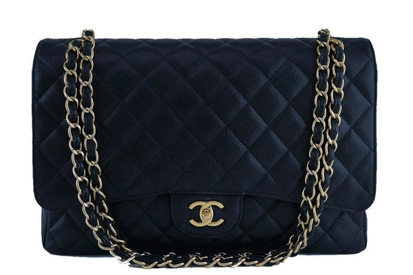 Chanel Black Caviar Maxi Quilted Classic 2.55 Jumbo XL Flap Bag GHW