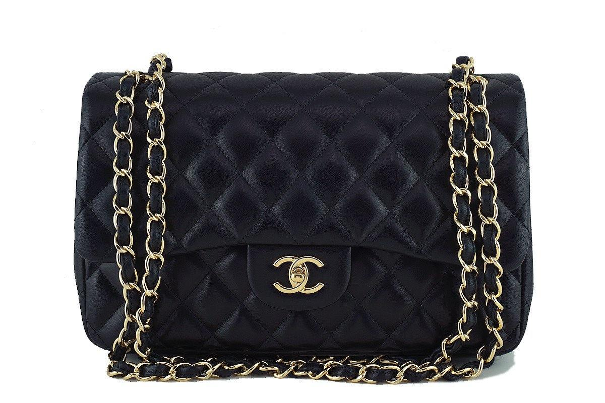 Chanel Black Lambskin Jumbo 2.55 Classic Double Flap Bag