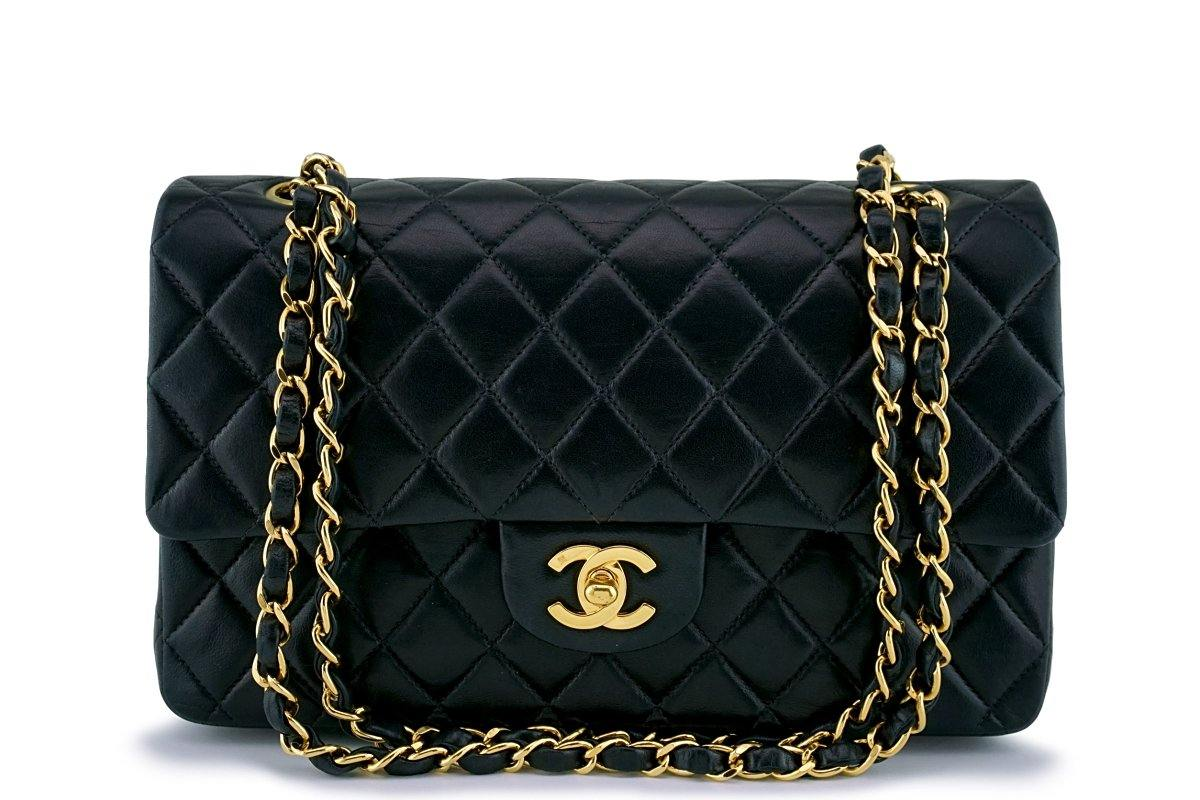 Chanel Black Lambskin Medium Classic Double Flap Bag 24k GHW