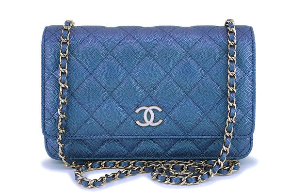 NIB 19S Chanel Iridescent Blue Pearly CC Wallet on Chain WOC Flap Bag
