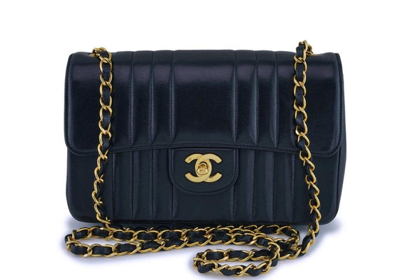 Chanel Vintage Black Lambskin Small Mademoiselle Classic Flap Bag 24k GHW