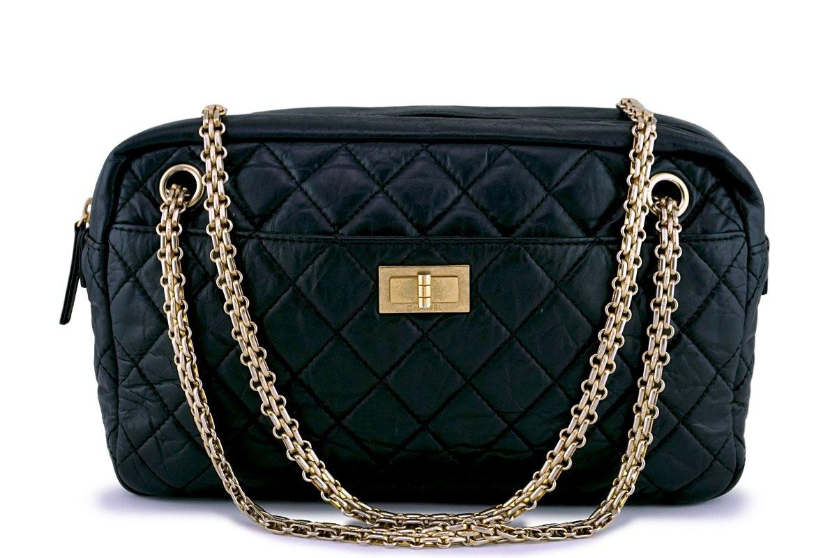 Chanel Black Classic 2.55 Reissue Camera Case Bag GHW