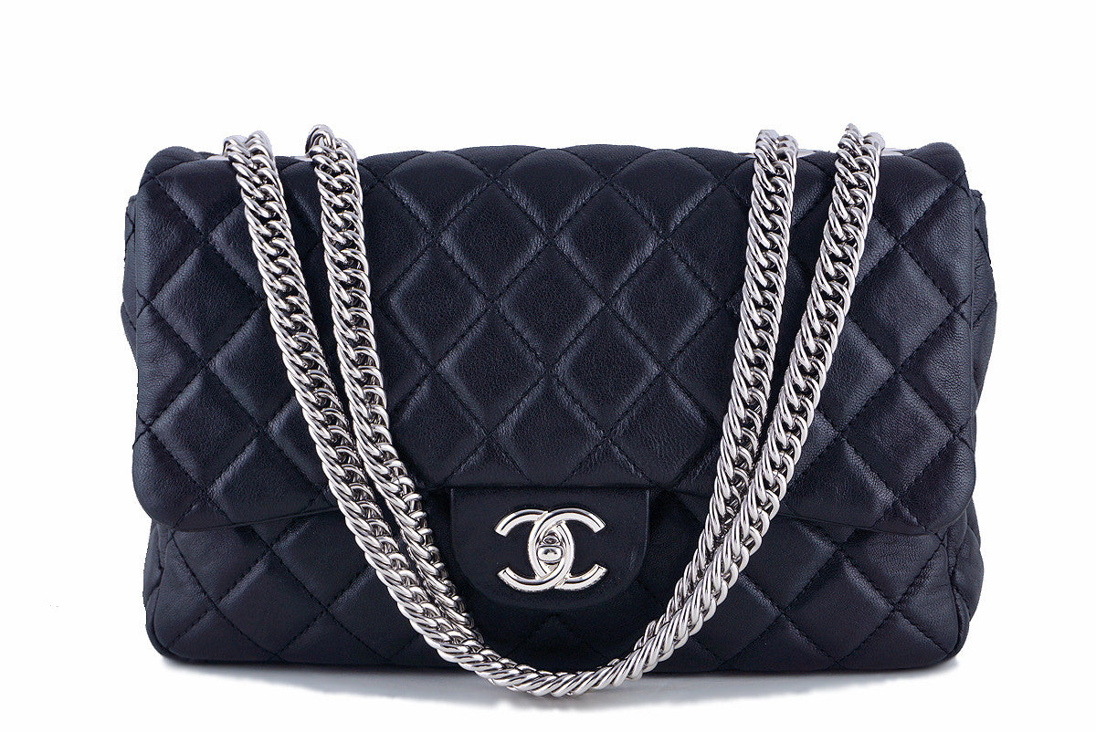 Chanel Black Jumbo Classic 2.55 Flap with Bijoux Chain Bag