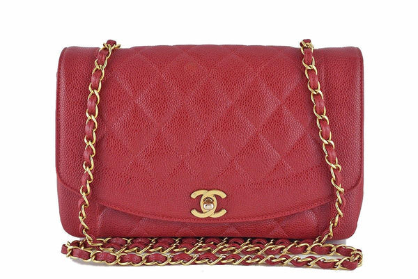 "Chanel 10in. Red Caviar Vintage Quilted Classic ""Diana"" Flap Bag"