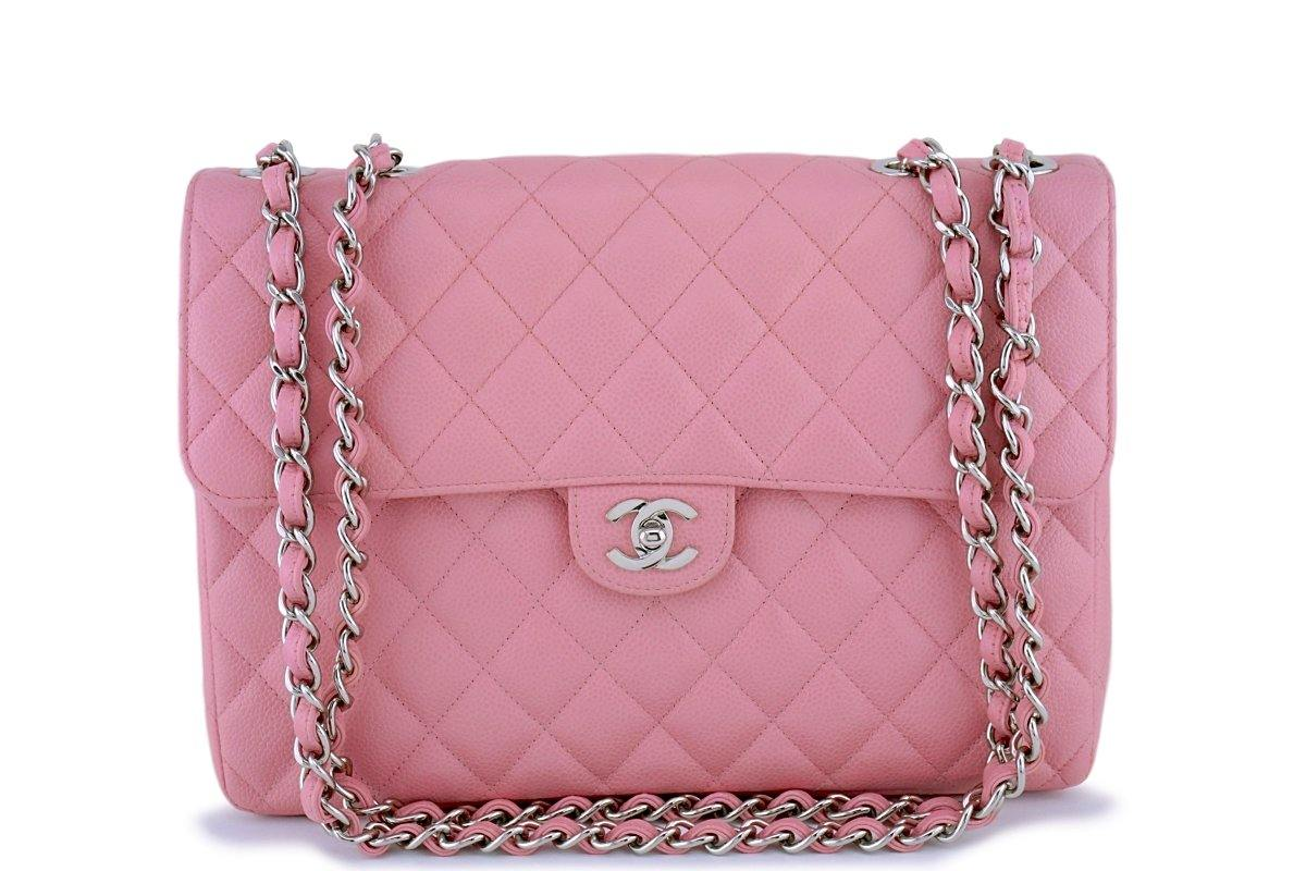 cfb72a4c1a50 Chanel Pink Caviar Jumbo Quilted Classic 2.55 Flap Bag SHW