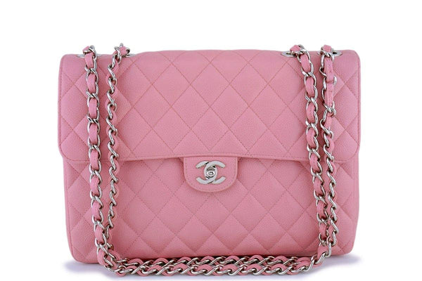 Chanel Pink Caviar Jumbo Quilted Classic 2.55 Flap Bag SHW