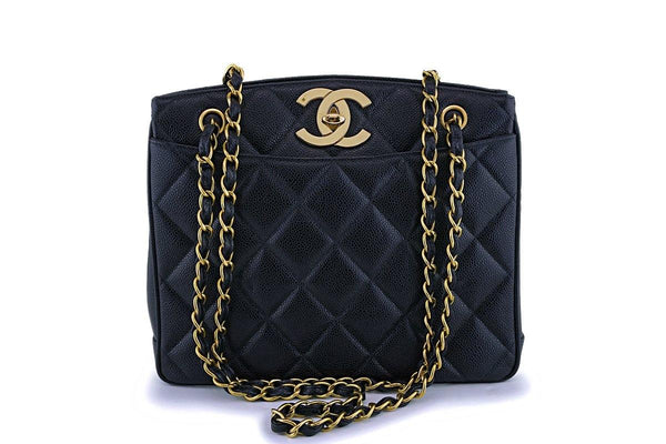 Chanel Vintage Black Caviar Classic Timeless Tote Bag 24k GHW