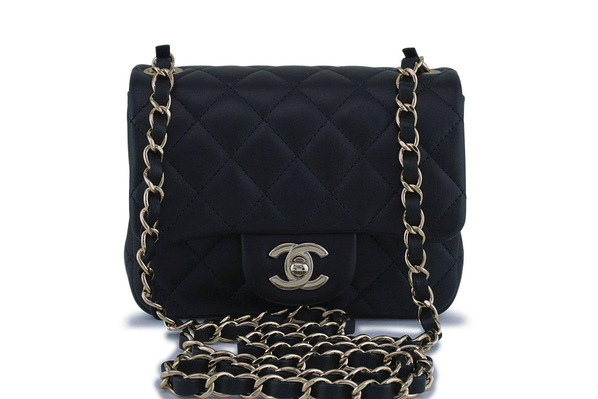 82f32a955c3e New 18C Chanel Black Classic Quilted Square Mini 2.55 Flap Bag GHW