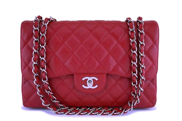 Chanel Red Caviar Jumbo Classic Flap Bag SHW