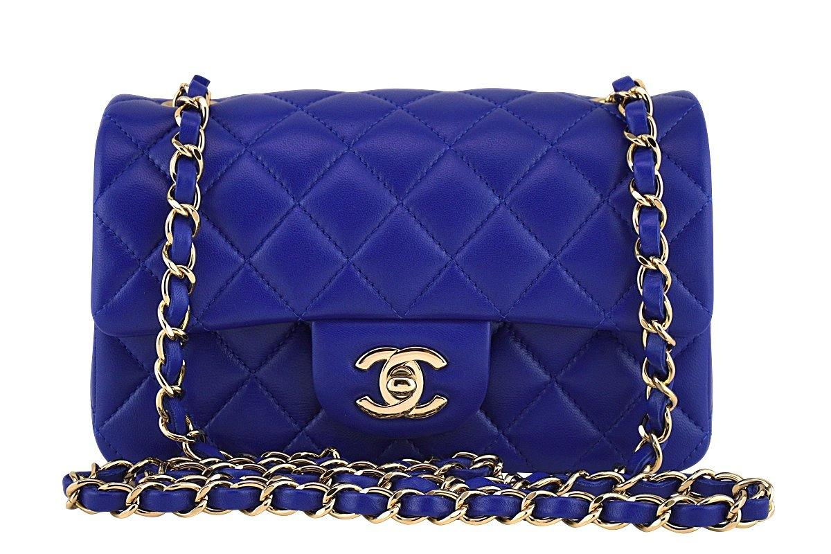 New 17B Chanel Blue Electric Classic Quilted Mini 2.55 Flap Bag GHW