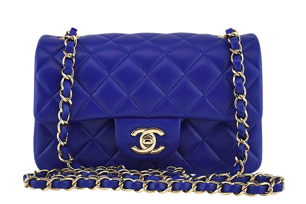 37fcae094e New 17B Chanel Blue Electric Classic Quilted Mini 2.55 Flap Bag GHW