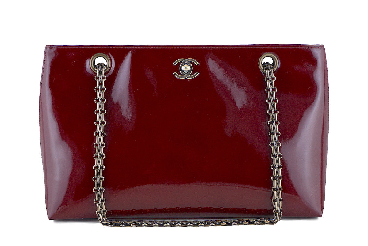 Chanel Burgundy Red Patent Luxe Classic Shopper Tote with Bijoux Chain Bag