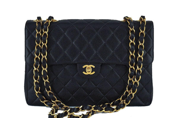 Chanel Black Caviar Jumbo Quilted Classic 2.55 Flap Bag 24KGP