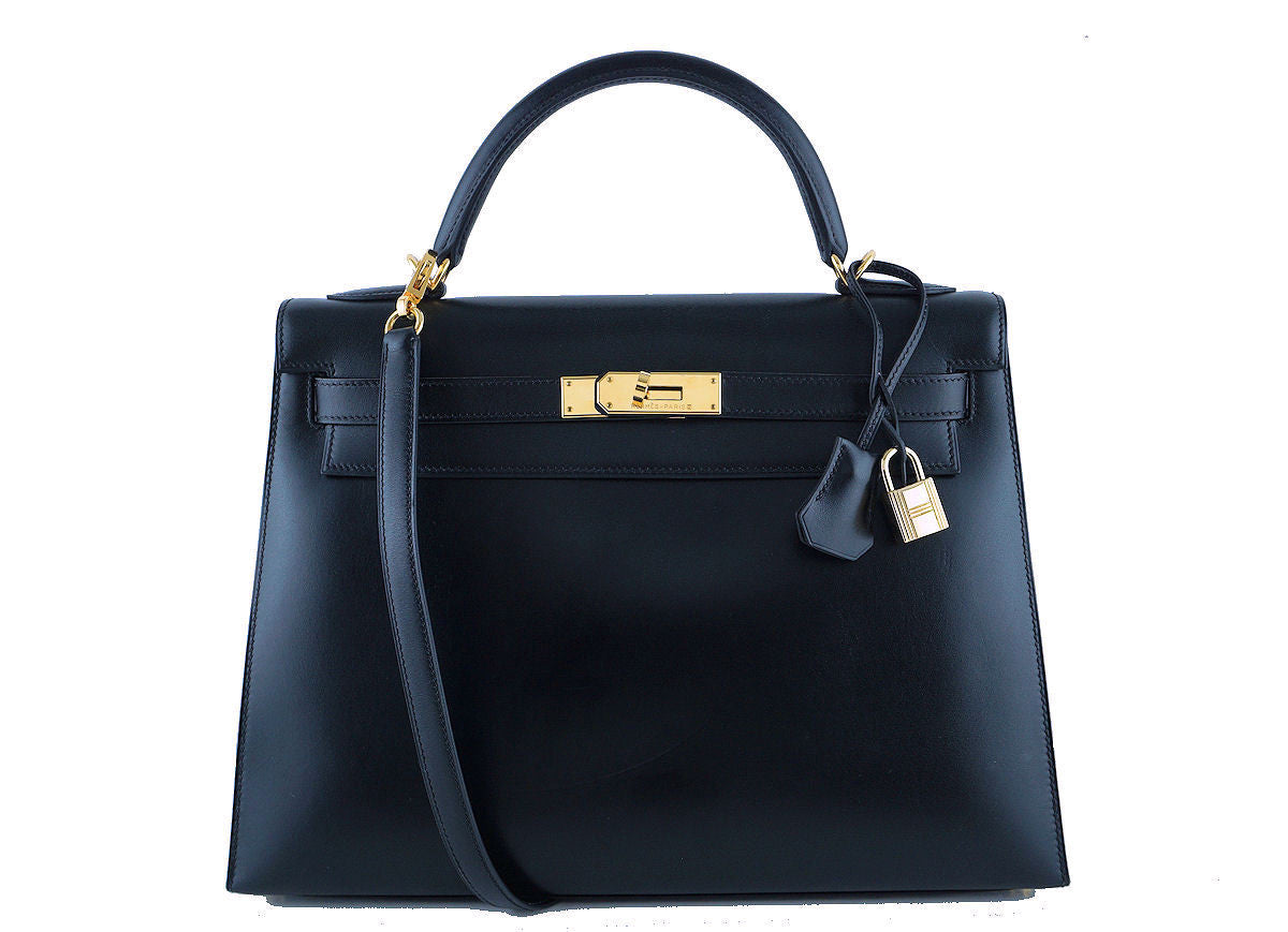 Hermes Black 32cm Box calf Kelly Sellier Bag, GHW - Boutique Patina  - 1