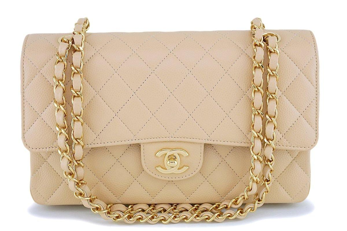 NIB Chanel Beige Caviar Medium Classic Double Flap Bag GHW