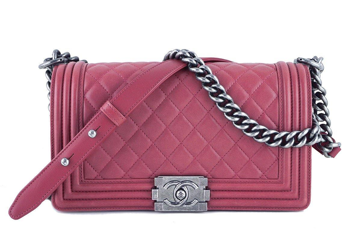 Chanel Dusty Rose Le Boy Classic Flap, Pink Medium Lambskin Bag - Boutique Patina  - 1