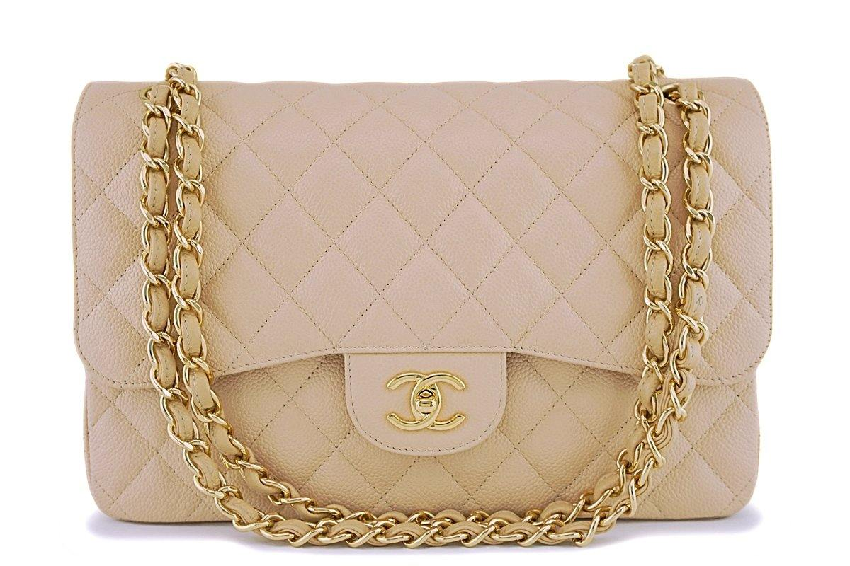 Chanel Beige Clair Caviar Jumbo Classic Double Flap Bag GHW