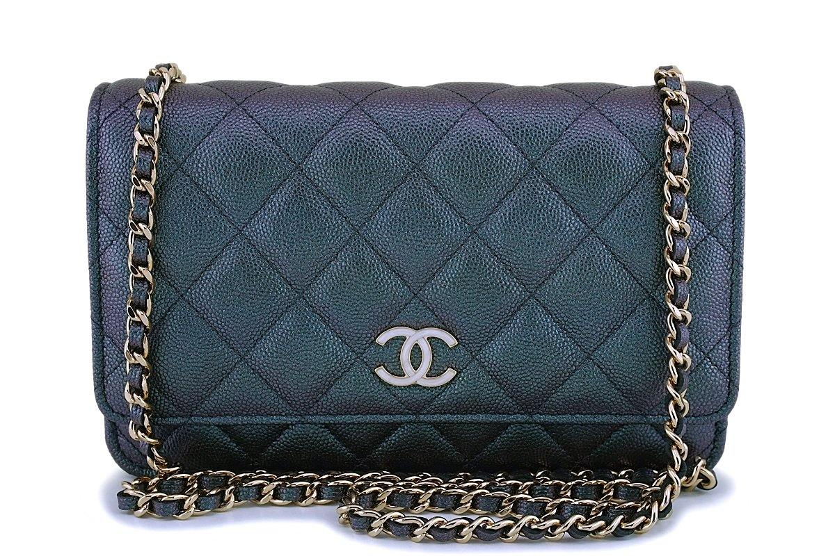 NIB 19S Chanel Iridescent Black Pearly CC Wallet on Chain WOC Flap Bag - Boutique Patina
