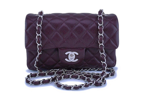 Chanel Burgundy Caviar Rectangular Classic Mini Flap Bag SHW
