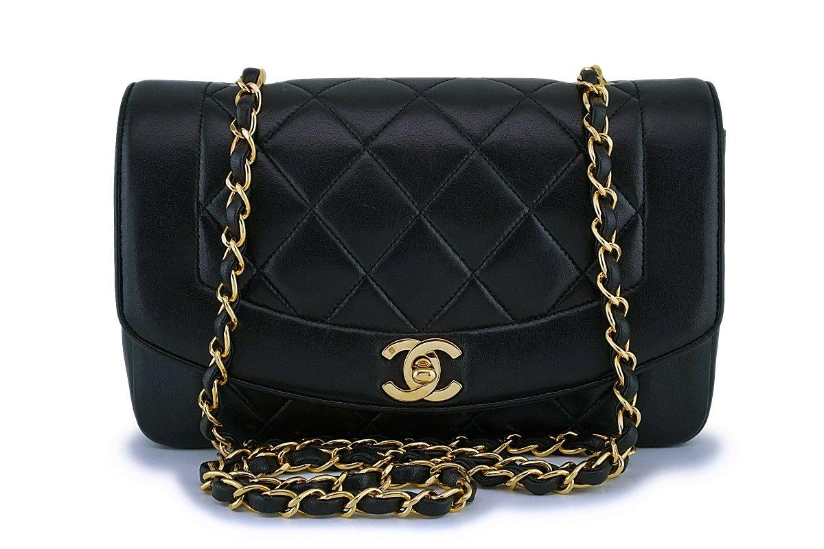 Chanel Black Vintage Lambskin Small Diana Classic Flap Bag 24k GHW