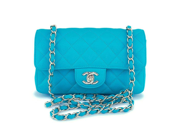 17C Chanel Turquoise Green-Blue Caviar Rectangular Mini Classic Flap Bag GHW