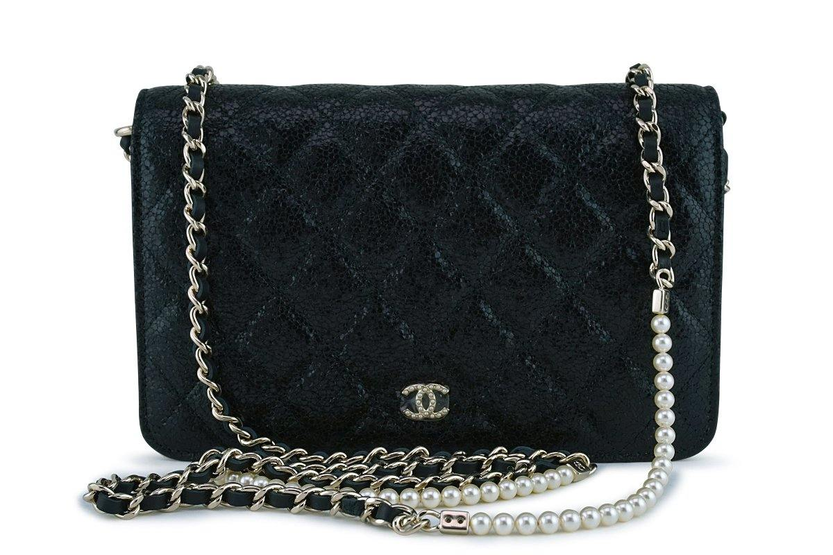 NWT Chanel Black Rare Fantasy Pearls Wallet on Chain WOC Flap Bag