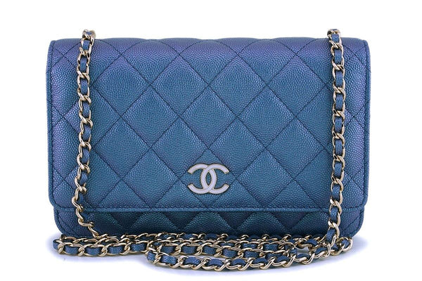 NIB 19S Chanel Iridescent Blue Caviar Classic Wallet on Chain Pearly CC WOC Bag