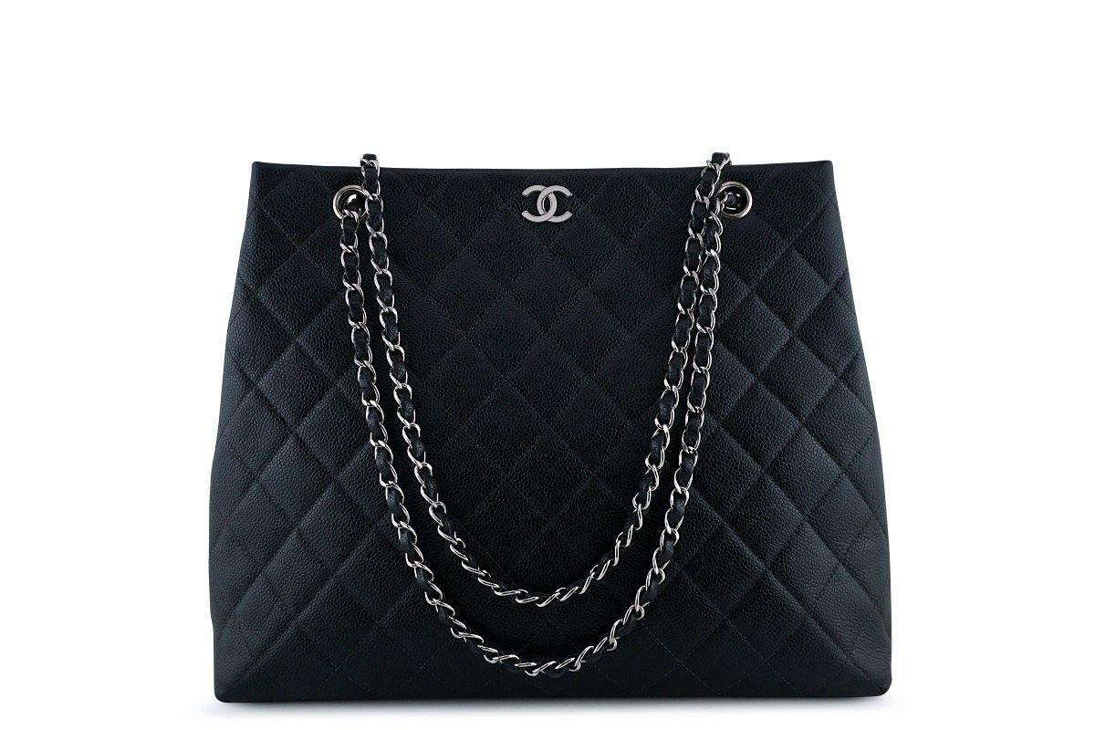 Chanel Black Caviar Classic Quilted Shopper Tote Bag SHW
