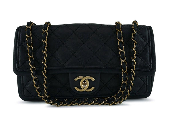 Chanel Black Aged Calf Framed Medium Classic Flap Bag