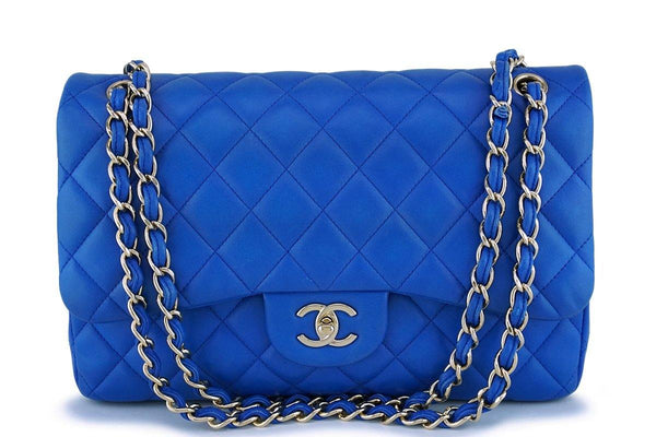 Chanel Blue Lambskin Jumbo Classic Double Flap Bag GHW