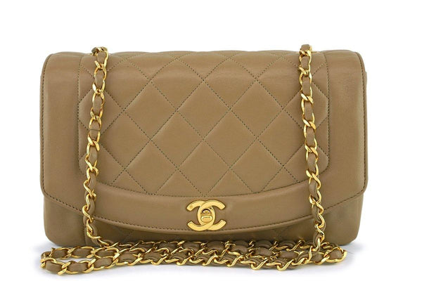 Chanel Vintage Dark Beige Classic Medium Diana Flap Bag 24k GHW