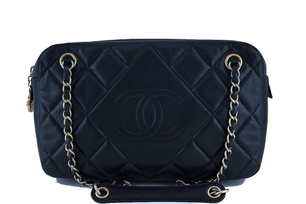 Chanel Black Classic Quilted Camera Case Bag