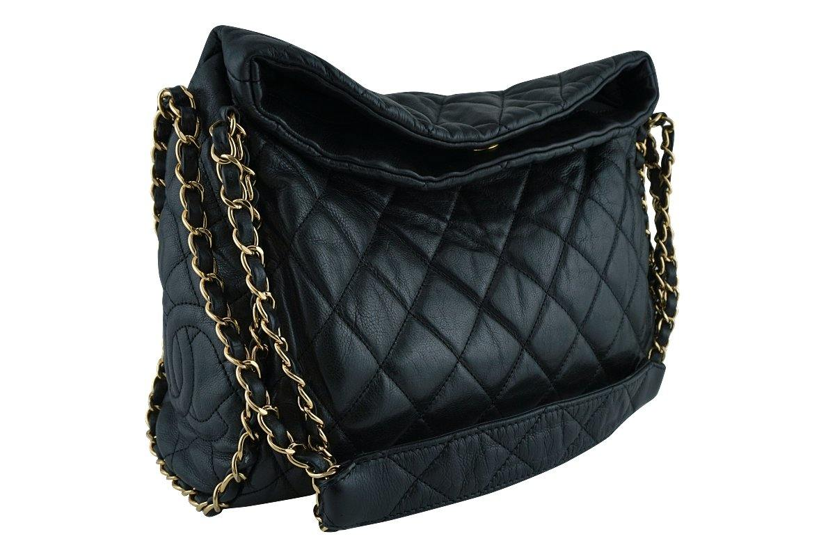 Black Quilted Ultimate Soft Luxe Chain Around Bag GHW : black quilted chain bag - Adamdwight.com