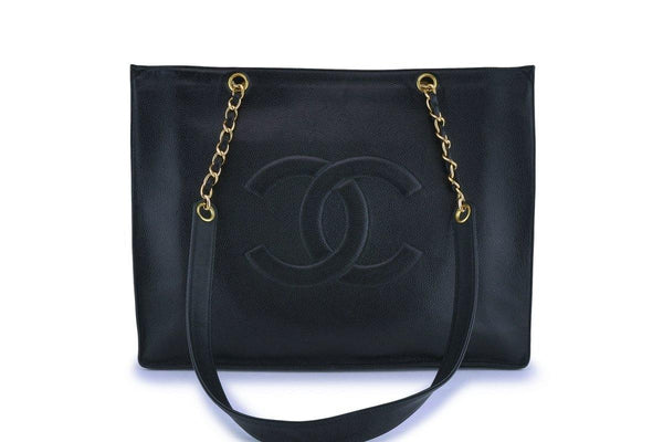 Chanel Vintage Black Caviar Timeless Logo Tote Bag 24k GHW