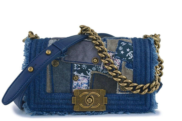 Chanel Denim Patchwork Small Boy Classic Flap Bag