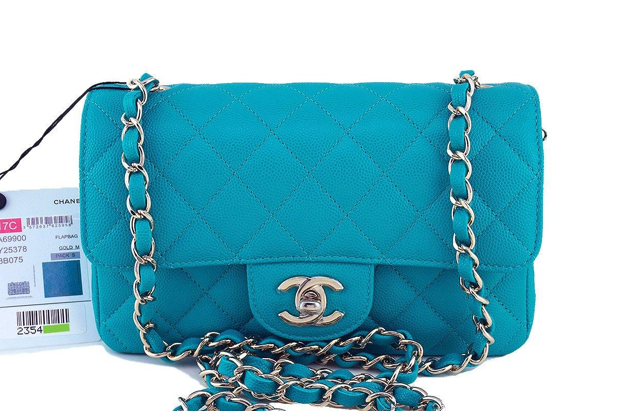NWT 17C Chanel Turquoise Blue Caviar Classic Mini 2.55 Flap Bag