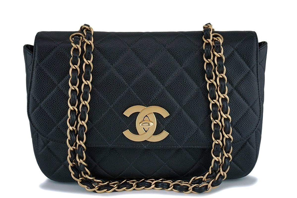 Rare Chanel Vintage Black Caviar Flap with Classic Jumbo CCs Bag GHW