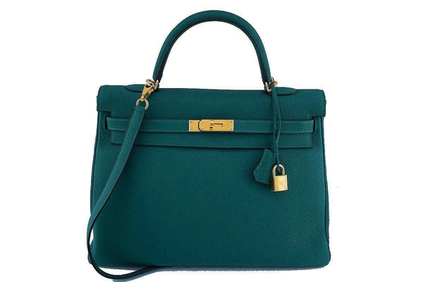 Hermes Malachite Green 35cm Kelly Togo Retourne Bag GHW