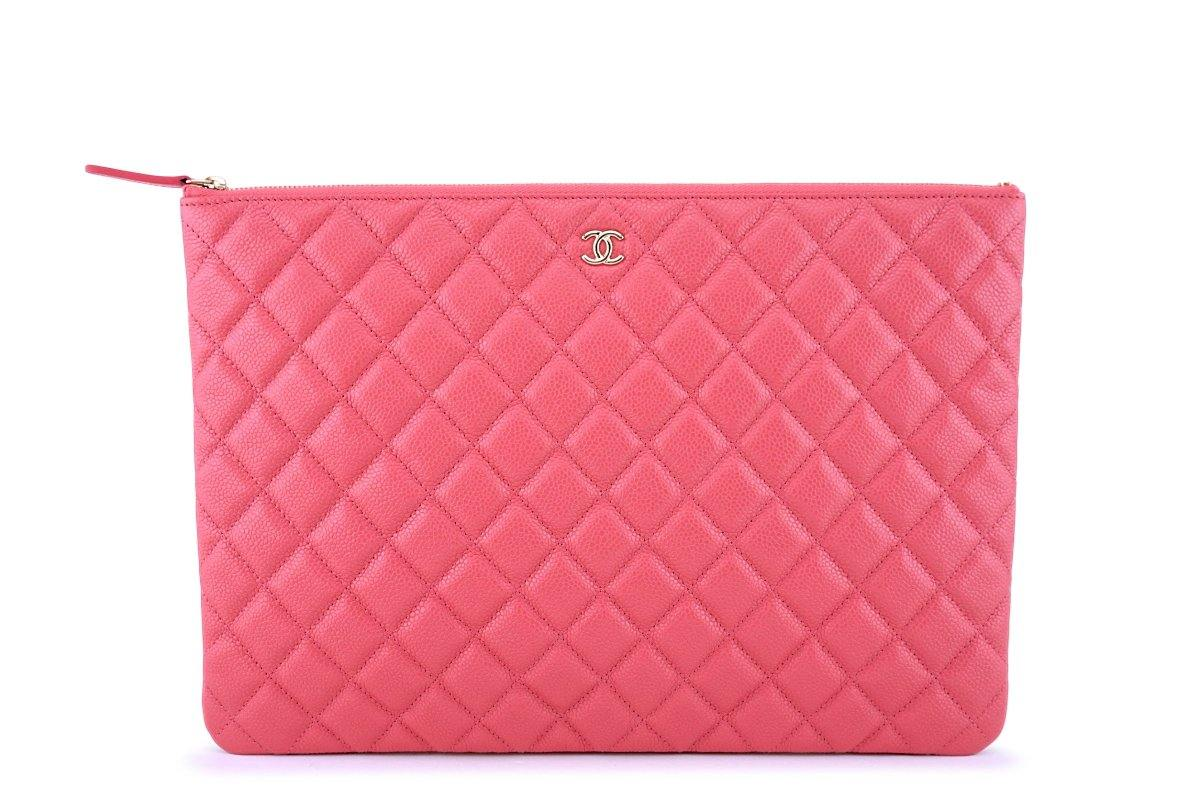 7f6060d8f818 New Chanel 18S Pearly Pink Caviar Large Classic O Case Clutch Bag