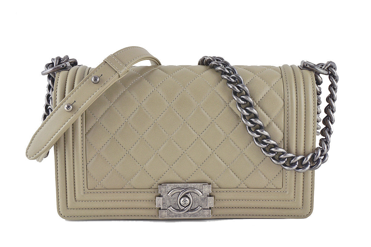 Chanel Boy Flap Bag, Taupe Gray Beige Medium Lambskin