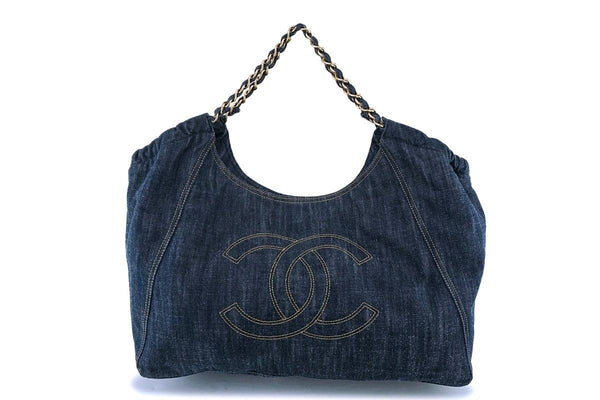 Chanel Denim Coco Cabas Canvas Tote Bag