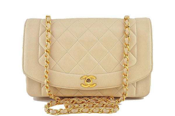 "Chanel Light Beige Vintage Quilted Classic ""Diana"" Shoulder Flap Bag"