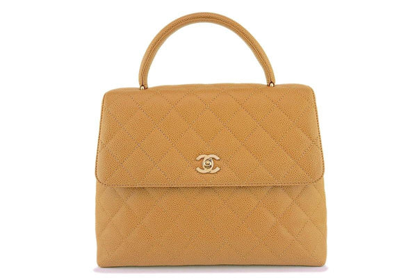 Chanel Beige Caviar Large Classic Kelly Flap Bag 24k GHW