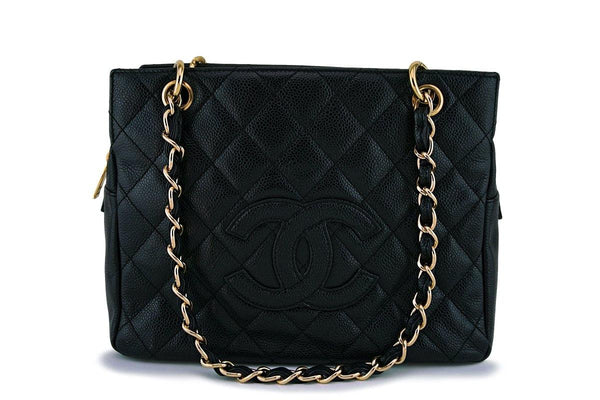 Chanel Black Caviar Classic Petite Timeless Shopper Tote Bag GHW