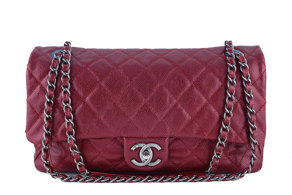 5b1fe878de73 Chanel Iridescent Red Caviar Jumbo-sized Classic Easy Flap Bag