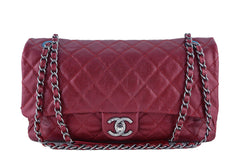 Chanel Iridescent Red Caviar Jumbo-sized Classic Easy Flap Bag - Boutique Patina  - 1