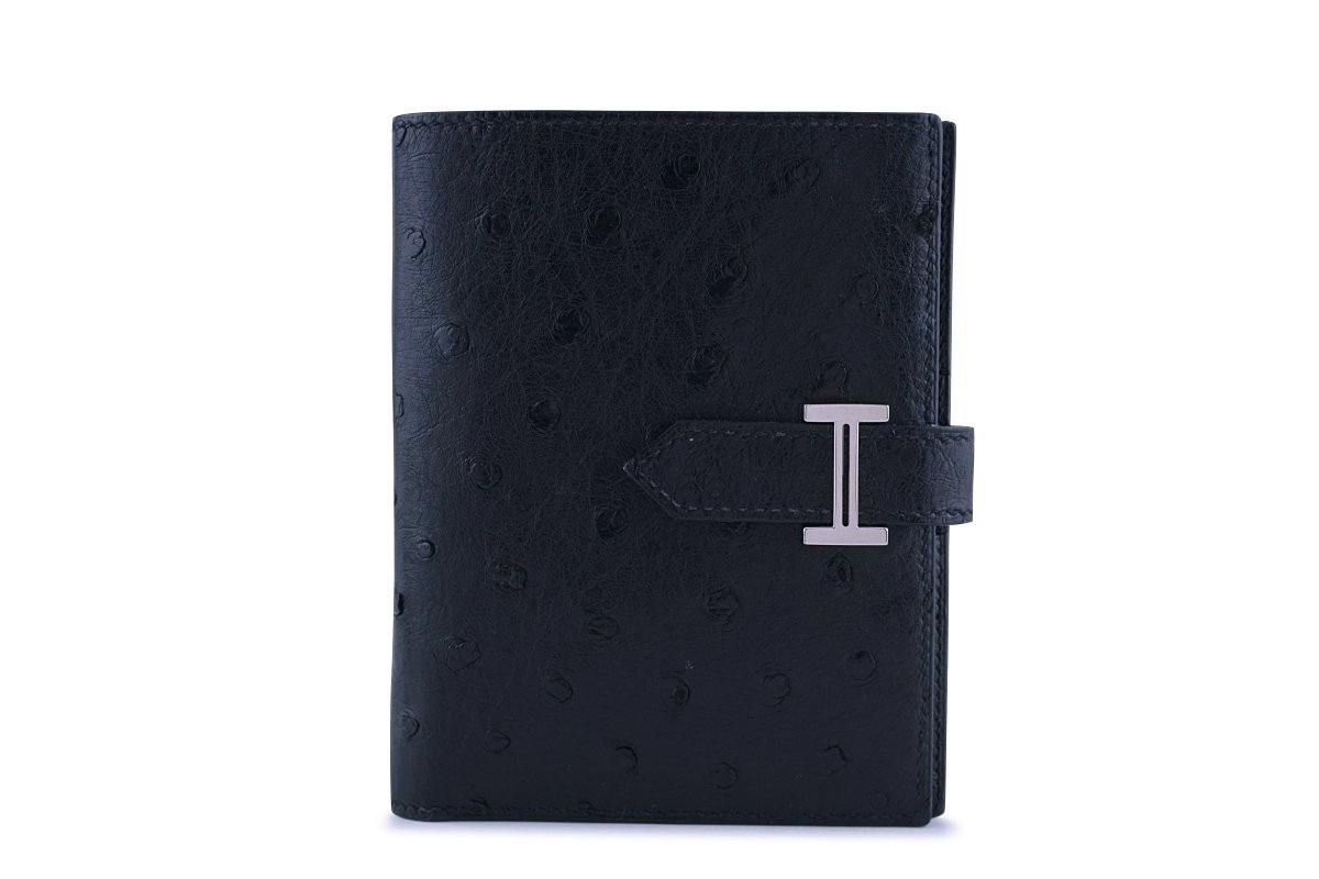 Hermes Black Ostrich Portefeuille Bearn Compact Wallet